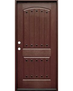 Historical Elegance Energy Star 36in fiberglass entry door in Mahogany finish with Simple Bow leaded glass oval insert