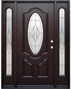 Historical Elegance Energy Star Fiberglass Entry Door with Beveled Oval Glass and Sidelites