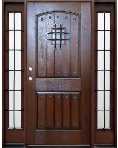 Historical Elegance Energy Star 36in fiberglass entry door in Mahogany finish with Simple Bow leaded glass oval insert with matching sidelites