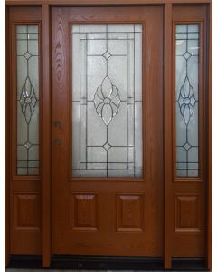 Athens Energy Star Fiberglass Entry Door in Mahogany Finish with Beveled Glass and Sidelites